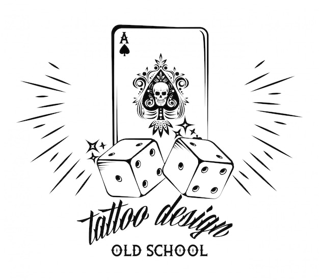 Old School Tattoo With Poker Cards Drawing Design Vector