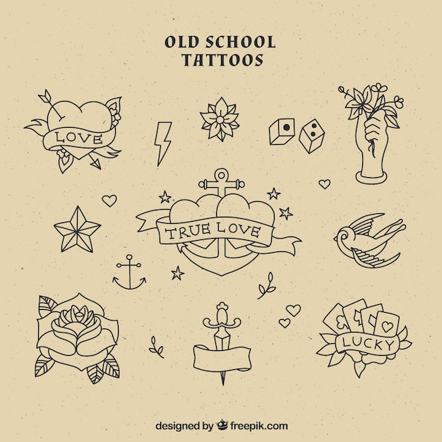 Old School Tattoos Collection Vector Free Download