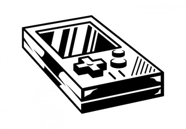 レトロなビデオゲームのゲーマーアーケードを再生するための古い学校のビンテージゲームパッド。 Premiumベクター