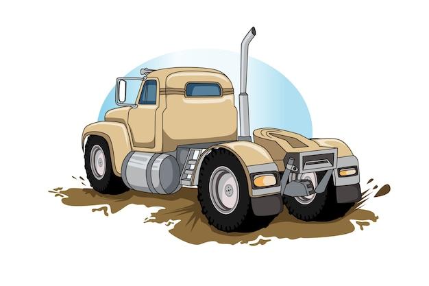 Старый полу большой грузовик вектор рука рисунок вектор Premium векторы