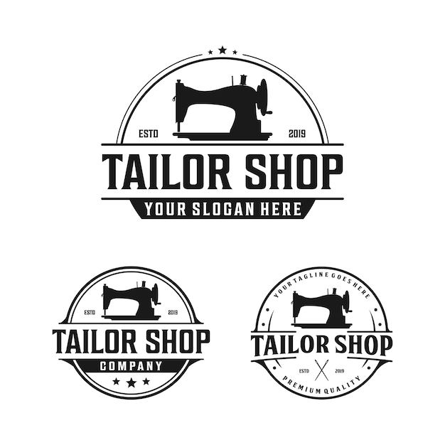 Old sewing machine for vintage tailor shop, tailor logo design Premium Vector