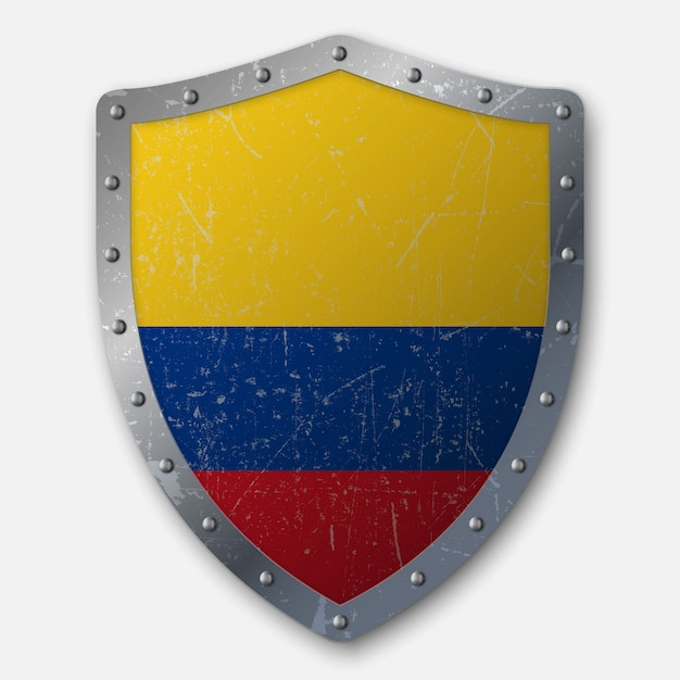 Old shield with flag of colombia Premium Vector