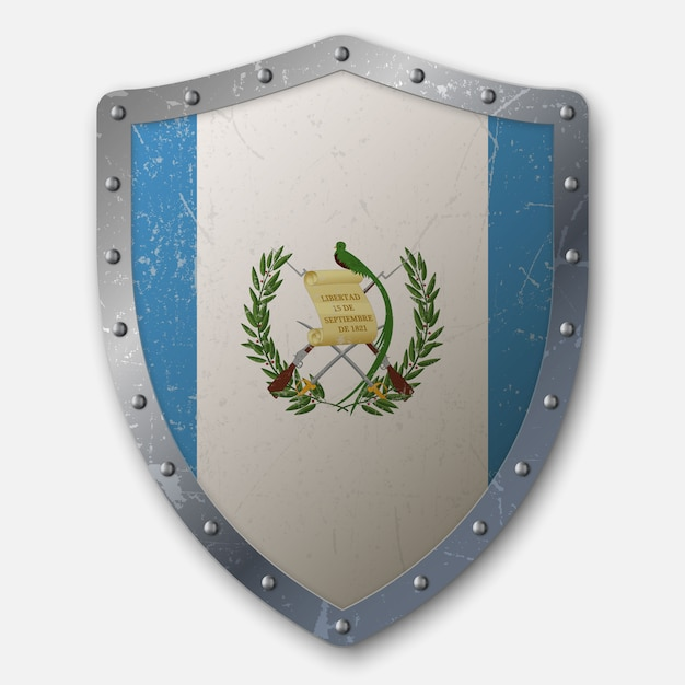 Old shield with flag of guatemala Premium Vector