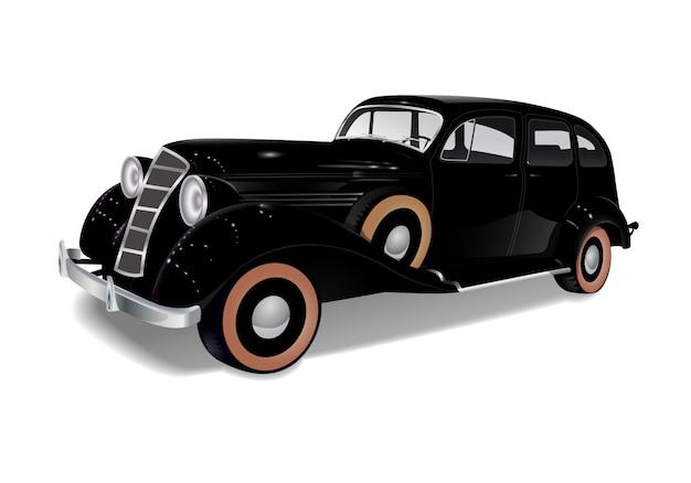Old sleigh car, auto black Premium Vector