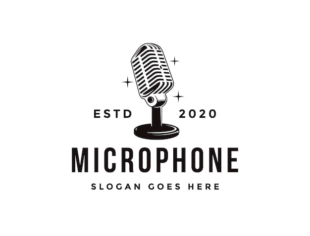 Old stand microphone logo, podcasting logo icon template Premium Vector