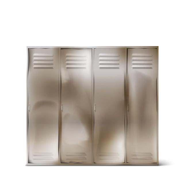Old steel lockers in school corridor or gym Free Vector