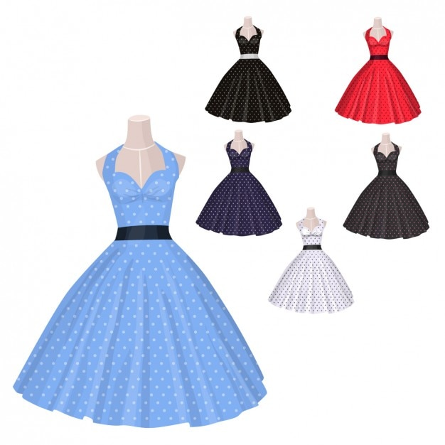 Old Style Dresses Collection Vector Free Download