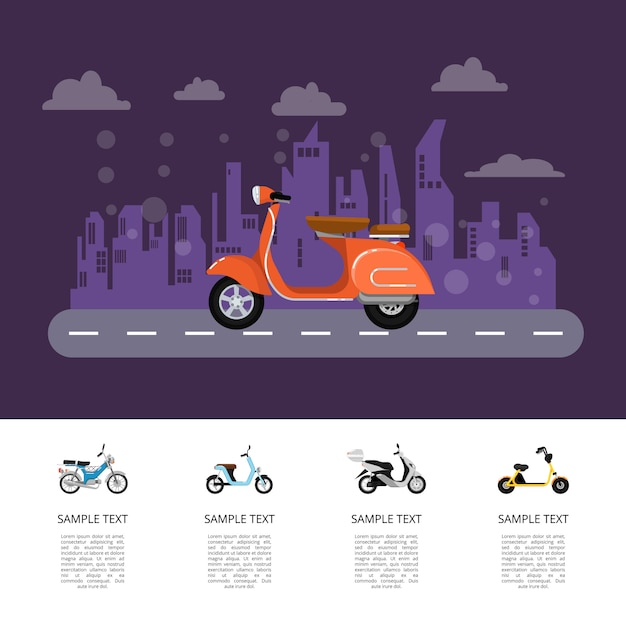 Old style moped on road poster in flat style Premium Vector