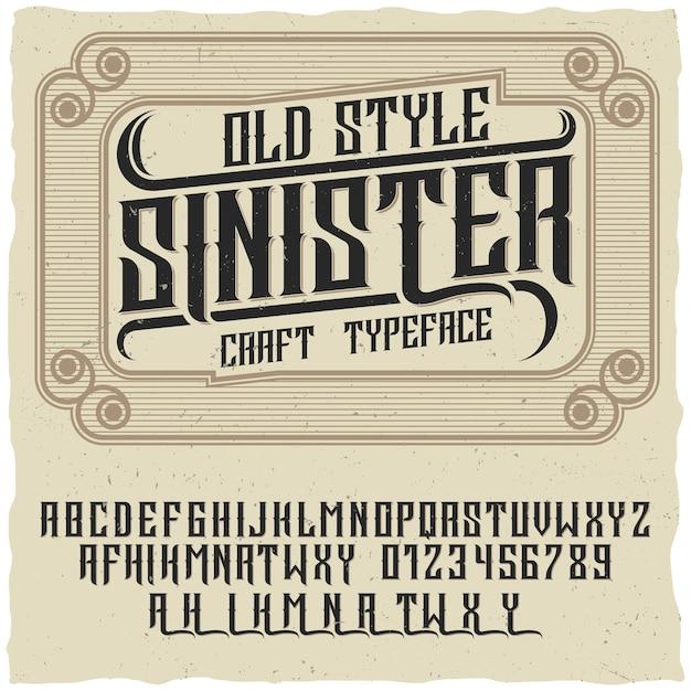 Плакат в старом стиле со словами зловещий и ремесленным шрифтом на креативном плакате Бесплатные векторы