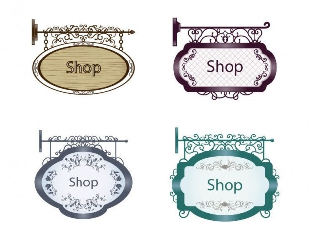Old style shop signs pack Free Vector