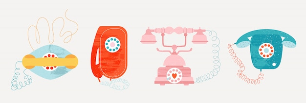 철사를 가진 오래 된 스타일 빈티지 전화기입니다. 프리미엄 벡터