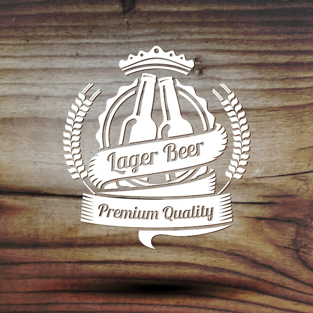 Old styled beer label for your beer business, shop, restaurant etc. on old wooden texture. Premium Vector
