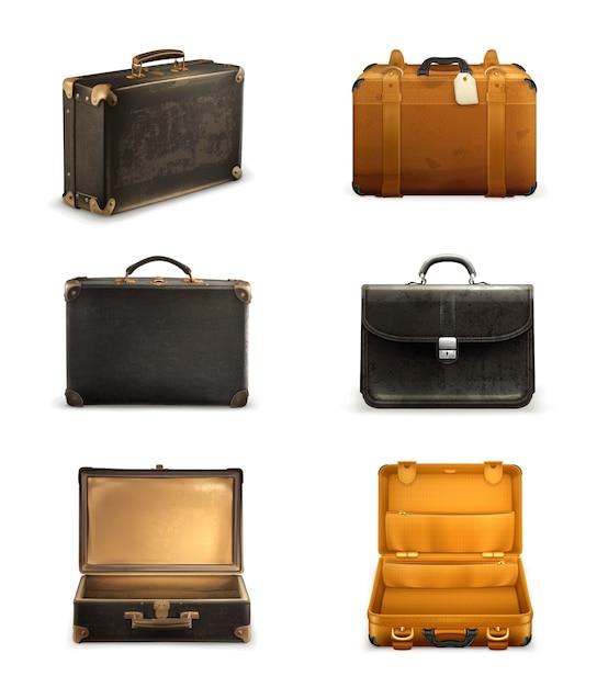 古いスーツケースイラストセット Premiumベクター