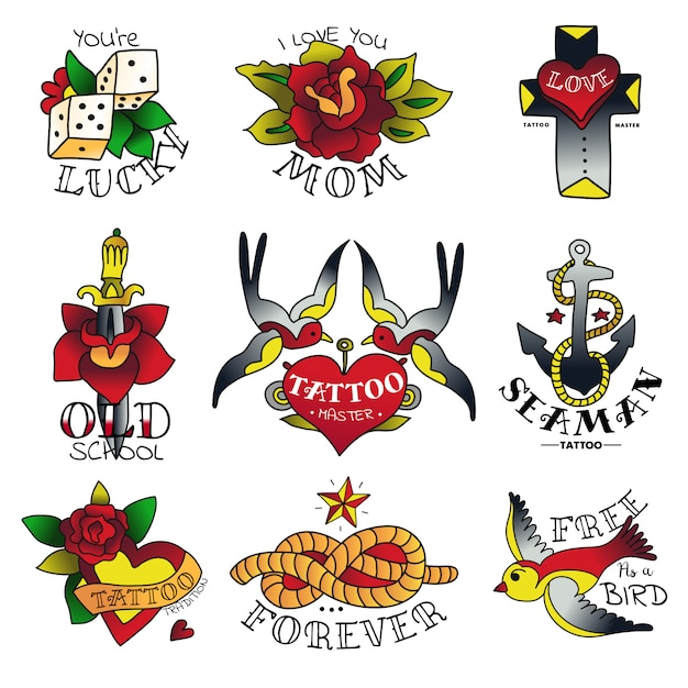 Old tattooing school emblems Free Vector