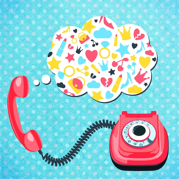 Old telephone chat concept Free Vector