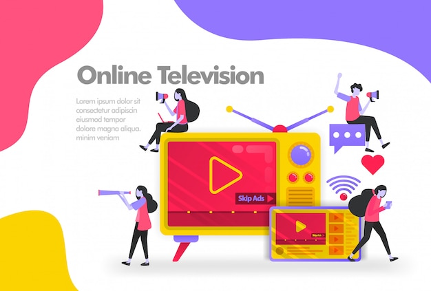 Old television with tablets and videos banner Premium Vector