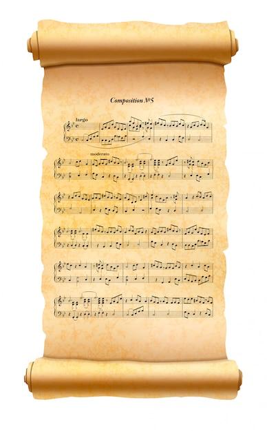 Старый текстурированный свиток с листом музыкальной композиции на белом Premium векторы