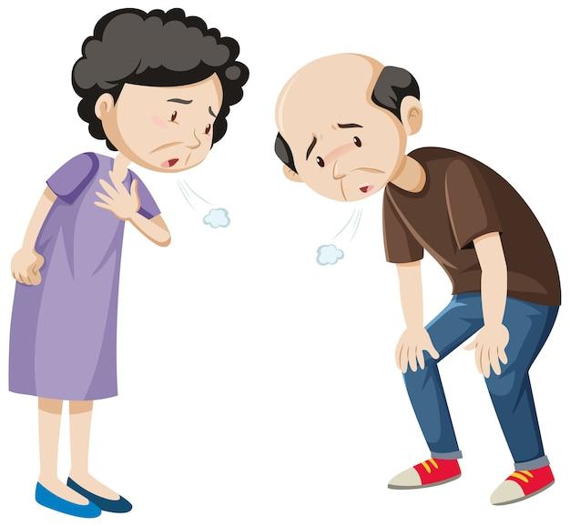Personaggio dei cartoni animati di vecchia coppia stanca Vettore gratuito