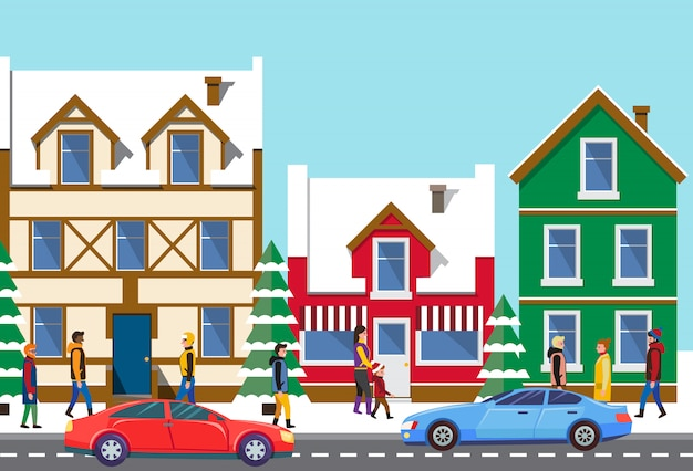 Old town cityscape, street with transport on road Premium Vector