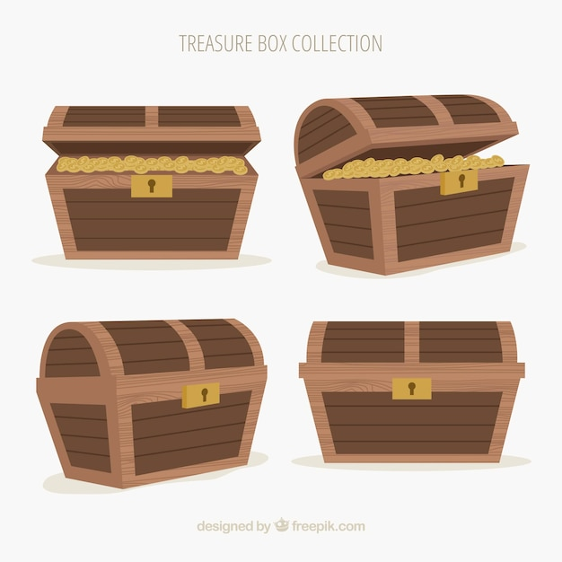 Old treasure chest collection with flat design Free Vector