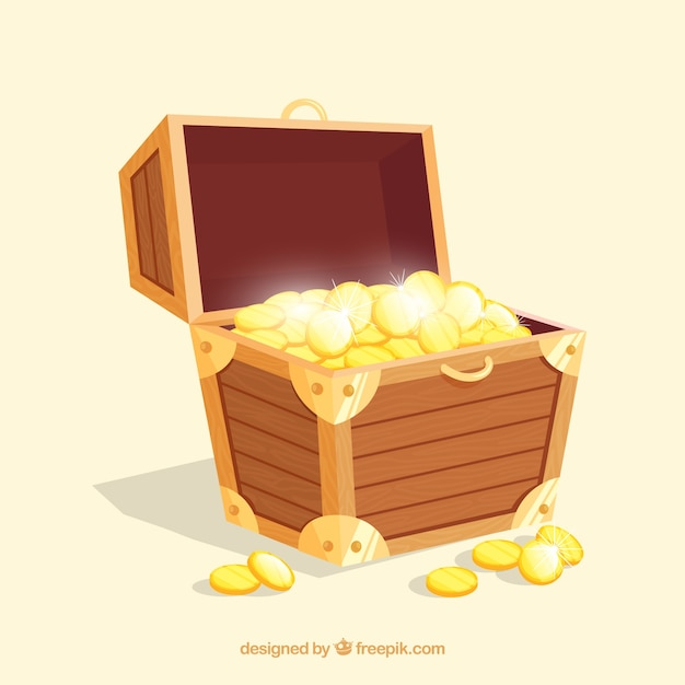 Old treasure chest with flat design Free Vector