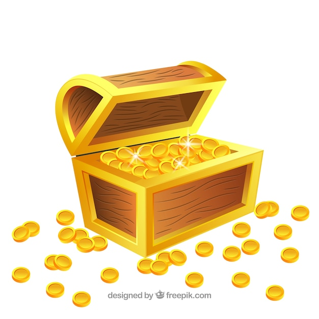 Old treasure chest with realistic design Free Vector