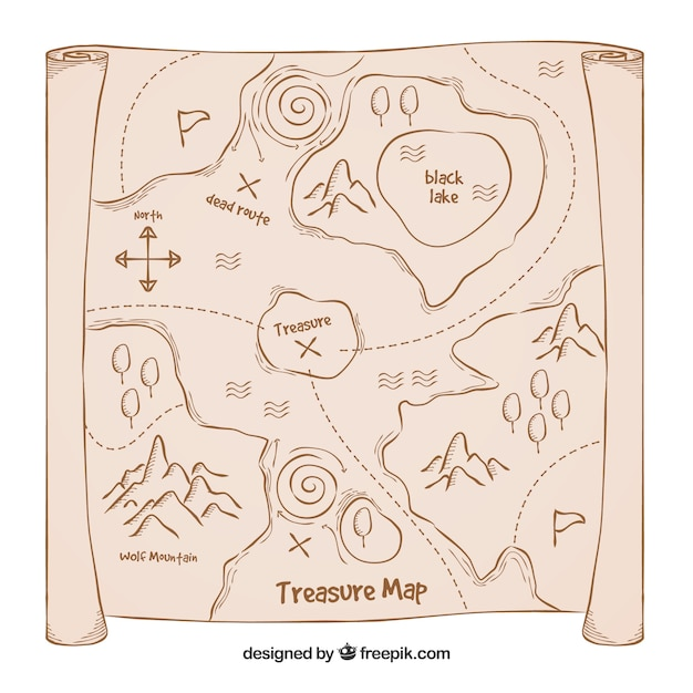 Old Treasure Map Background Free Vector