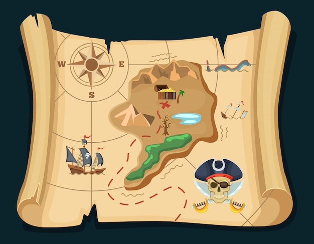 Old treasure map for pirate adventures. island with old chest. vector illustration. pirate map treasure, travel adventure Premium Vector