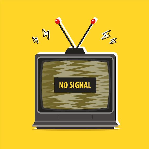 오래된 Tv 방해. 신호 없음. 평면 벡터 일러스트 레이션 프리미엄 벡터