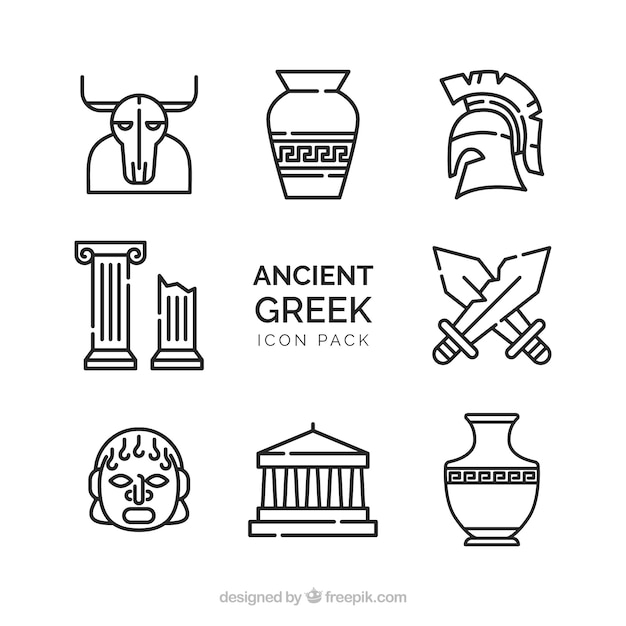 Old vector pack of ancient greek designs Free Vector