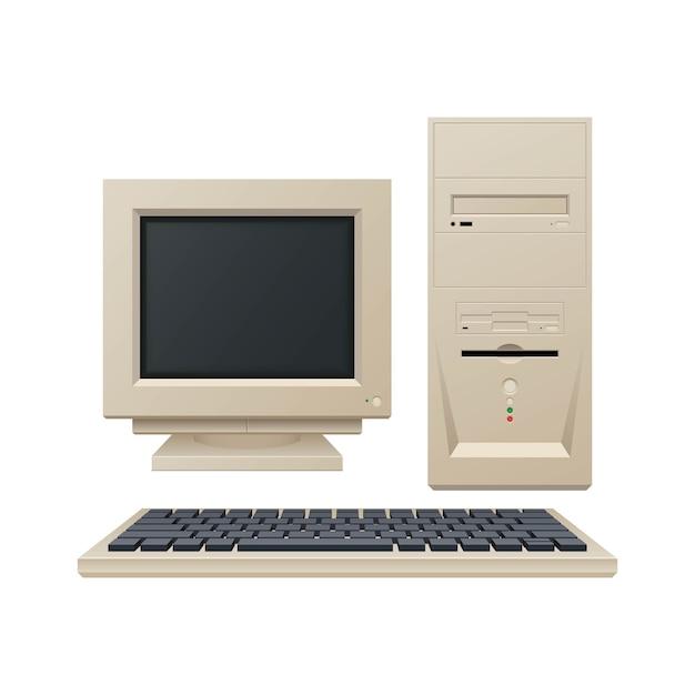 Старый старинный компьютерная иллюстрация Premium векторы