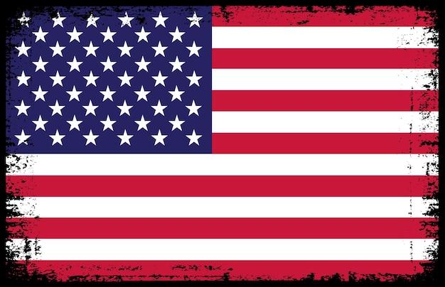 アメリカ合衆国の古いヴィンテージの旗 Premiumベクター
