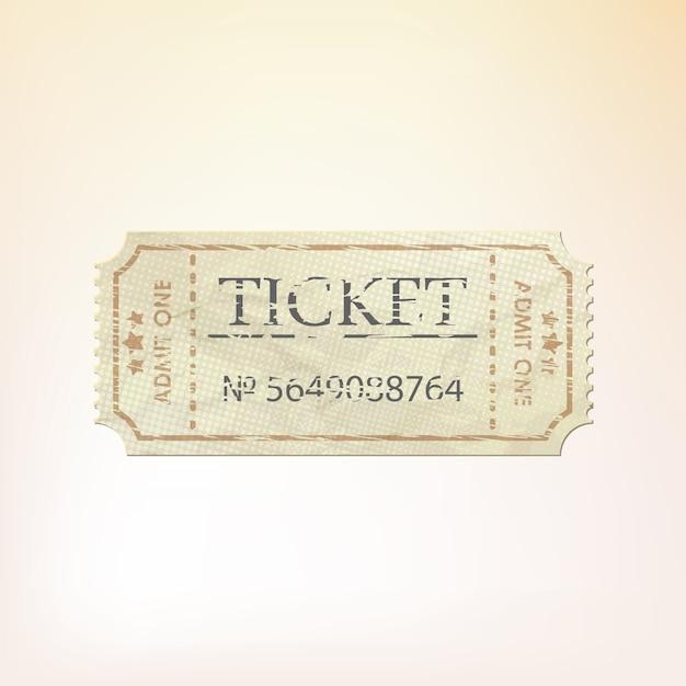 Старый старинный бумажный билет с номером. Premium векторы