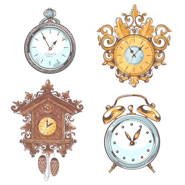 Old vintage retro clock set Free Vector