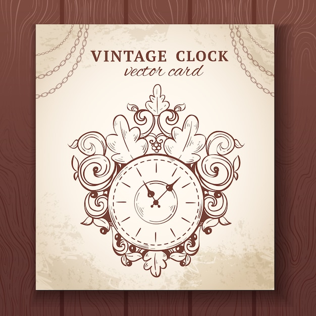 Old vintage retro sketch wall clock with decoration paper card vector illustration Free Vector