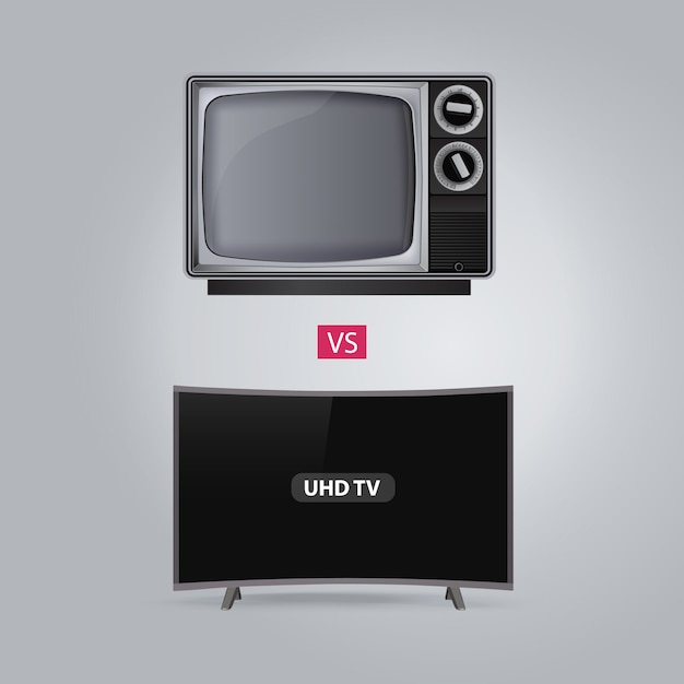 Old vs curved smart led uhd tv series on gray background Premium Vector