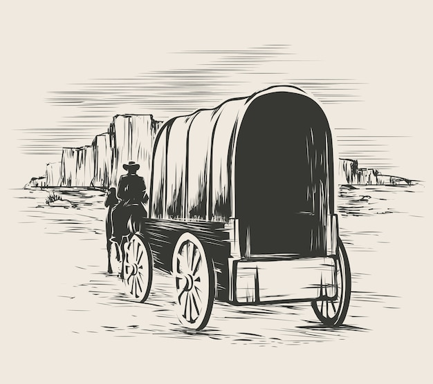 Old wagon in wild west prairies. pioneer on horse transportation cart Free Vector