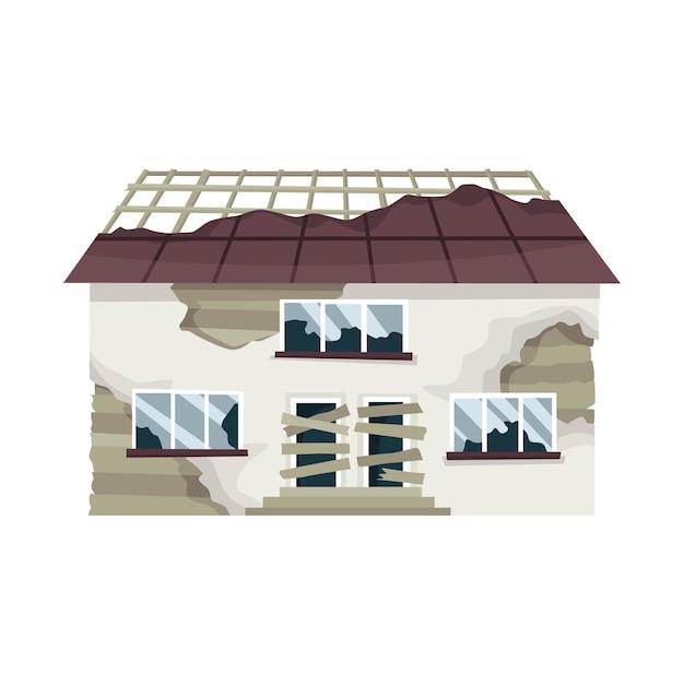 古い風化した家や住居。状態の悪い廃屋。 Premiumベクター