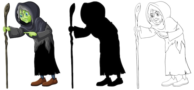 Old witch in color and outline and silhouette cartoon character isolated on white background Free Vector