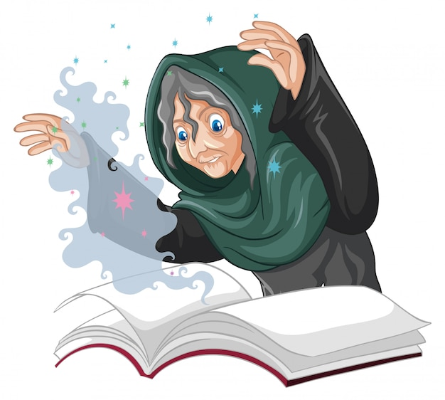 Old witch with spell and book cartoon style isolated on white background Free Vector
