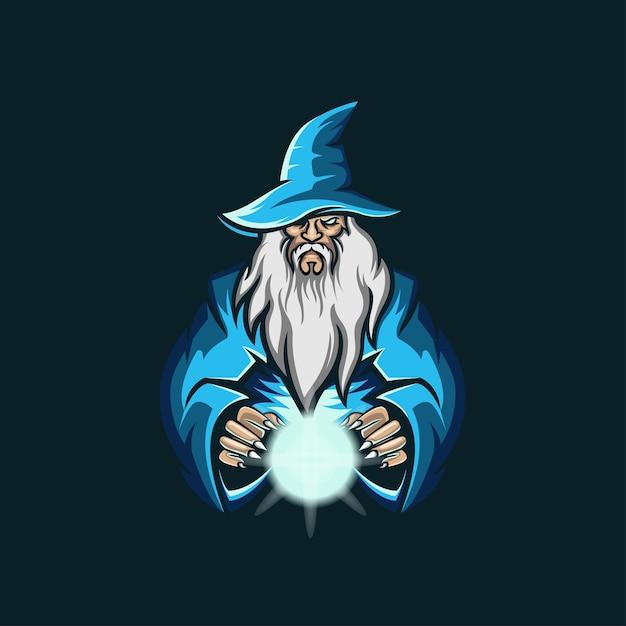 Old Wizard Esport 로고 그림 프리미엄 벡터