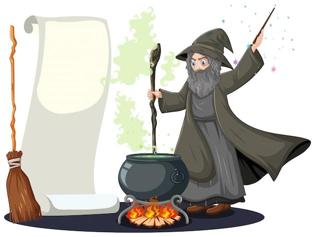 Stregone anziano con vaso e scopa magici neri e stile in bianco del fumetto della carta dell'insegna isolato su fondo bianco Vettore gratuito