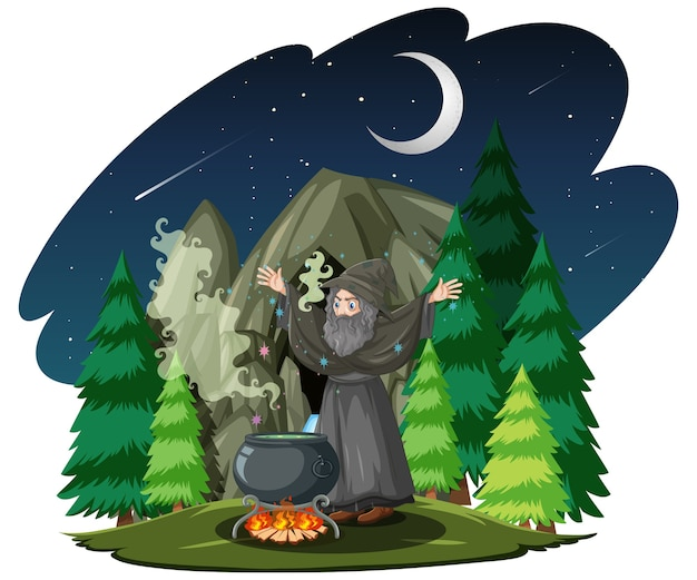 Old wizard with black magic pot in forest cartoon style isolated on white background Free Vector
