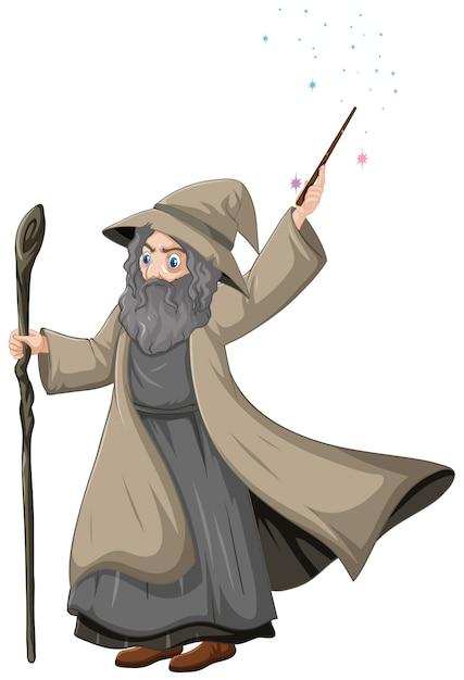 Vecchio mago con bacchetta magica in stile cartone animato isolato Vettore gratuito