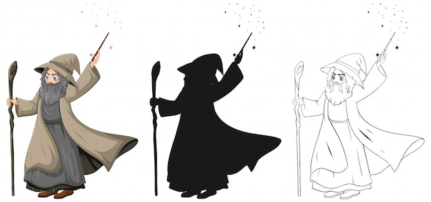 Old wizard with magic wand in color and outline and silhouette cartoon character isolated on white background Free Vector