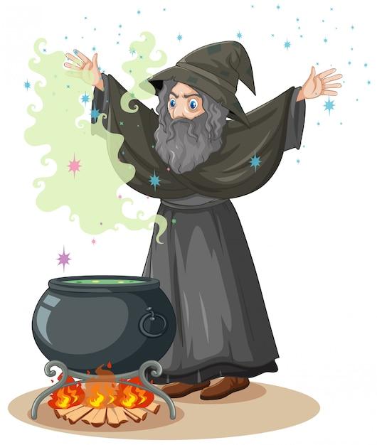 마법과 마법 냄비 만화 스타일 흰색 배경에 고립 된 오래 된 마법사 무료 벡터