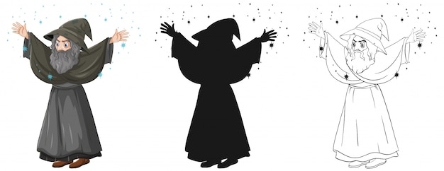 Old wizard with spell in color and outline and silhouette cartoon character isolated on white background Free Vector