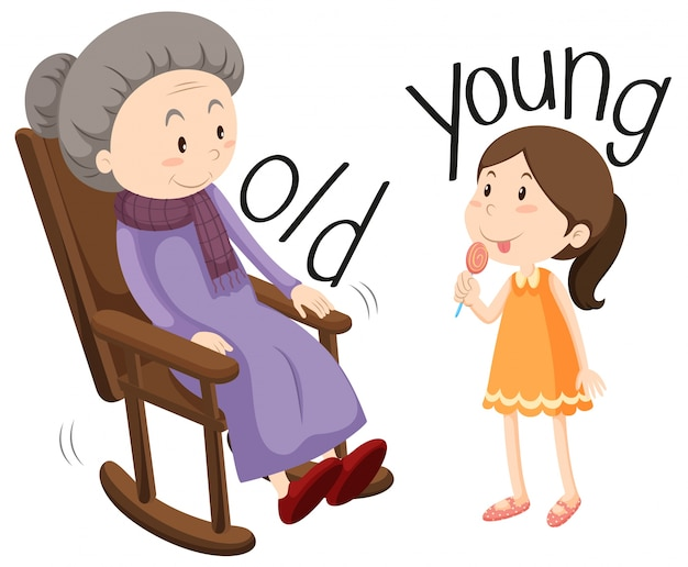 Young And Old Cartoon Old woman and young gi...