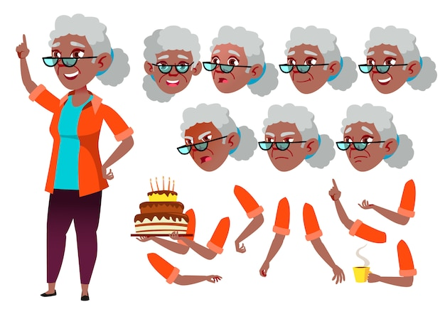 Old woman character. african. creation constructor for animation. face emotions, hands. Premium Vector