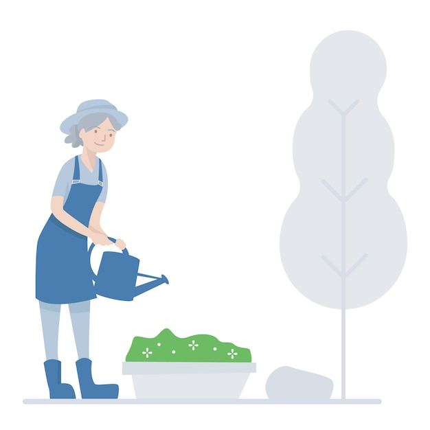 Old woman gardening Premium Vector